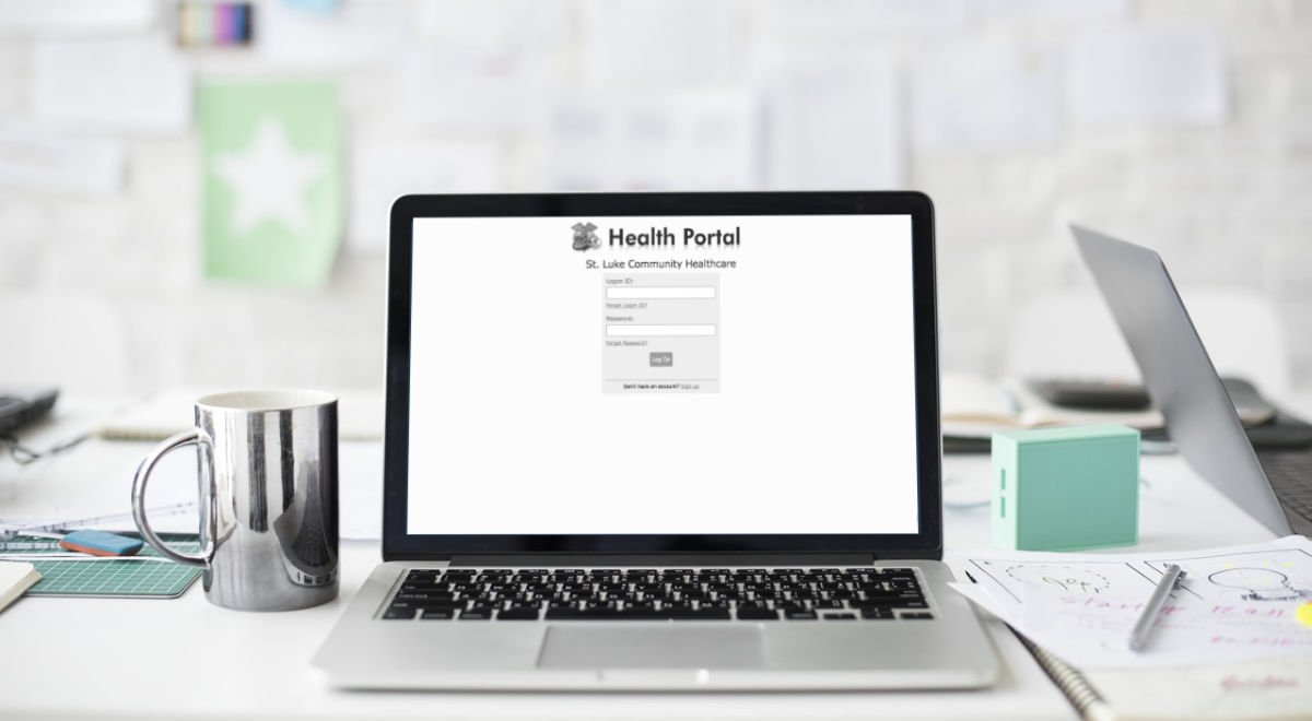 Computer screen on desk with myHealth Portal login