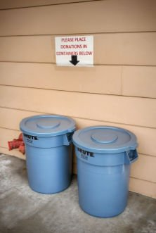 Blue donation bins