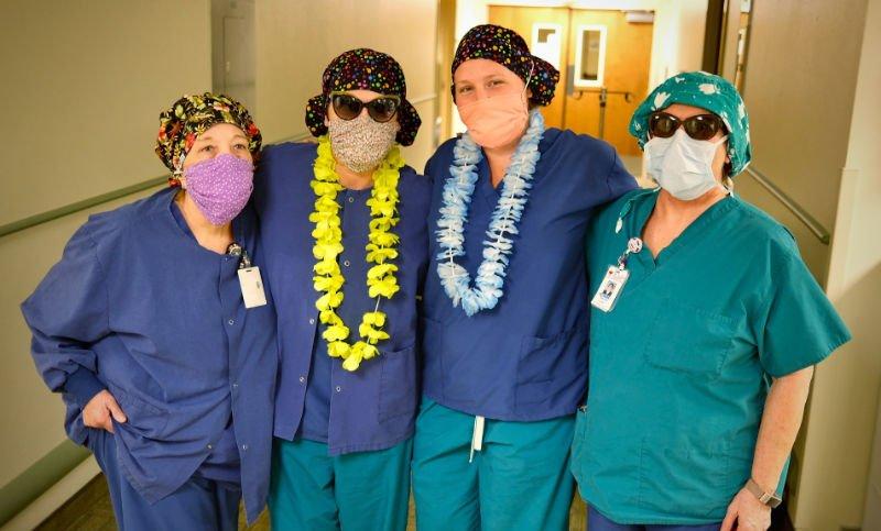 St Luke employees in scrubs