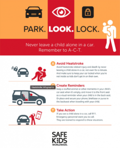 Park. Look. Lock. Never Leave a Child alone in a car
